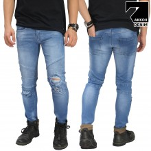 Jeans Biker Ripped Soft Blue