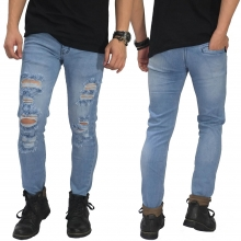 Jeans Ripped Mega Destroyed Soft Blue