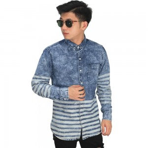 Kemeja Denim Under Stripe Dark Blue