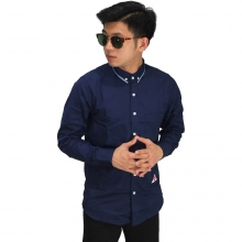 Kemeja Formal Under Collar Stripe Navy