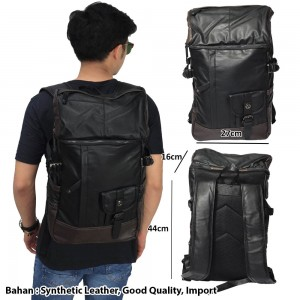 Tas Backpack Fully Leather Black