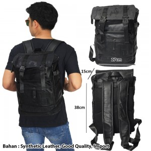 Tas Backpack Leather Meet Canvas Black