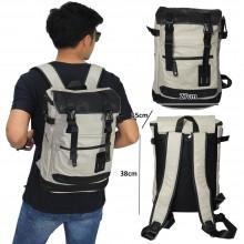 Tas Backpack Leather Meet Canvas Cream