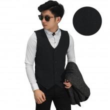 Vest Formal Small Square Emboss Black