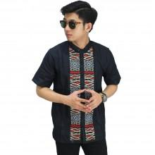Baju Koko Pendek Bordir Anyaman Black