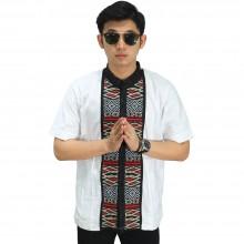 Baju Koko Pendek Bordir Anyaman White