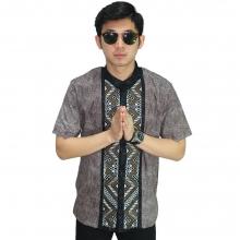 Baju Koko Pendek Bordir Batik Tenun Brown