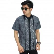 Baju Koko Pendek Bordir Batik Tenun Grey