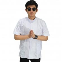 Baju Koko Pendek Bordir Kotak White