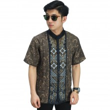 Baju Koko Pendek Bordir Abstract Brown