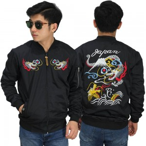 Jaket Bomber Sukajan Japan Dragon Mountain Black