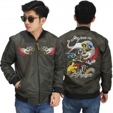 Jaket Bomber Sukajan Japan Dragon Mountain Dark Green