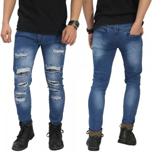 Jeans Ripped Extreme With Patch Kakkoii Dark Blue