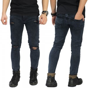 Jeans Ripped On Knee and Thigh Black Washed