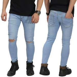 Jeans Ripped On Knee Soft Blue