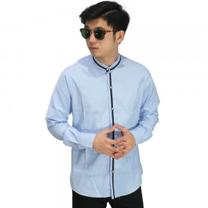 Kemeja Formal Grandad With List Soft Blue