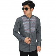 Kemeja Grandad Mix Motif Tribal Grey