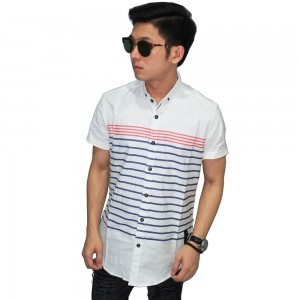 Kemeja Pendek Blocking Stripe White
