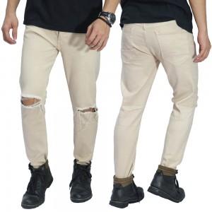 Celana Jeans Ripped On Knee Khaki