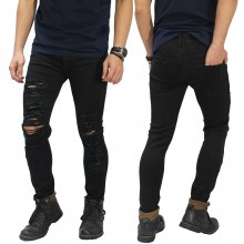Jeans Skinny Ripped Damage Black