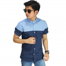 Kemeja Oxford Two Tone Light Blue and Navy