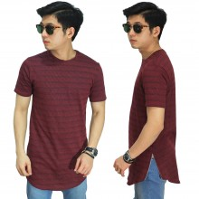 Longline T-Shirt Faded Stripe Maroon