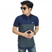 Polo Shirt Grandad Collar Navy Bottom Grey