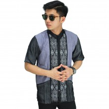 Baju Koko Pendek Bordir Wajik Grey