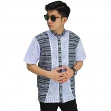 Baju Koko Pendek Jasko Multi Motif Putih Kebiruan