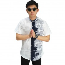 Baju Koko Pendek Mixed Motif White
