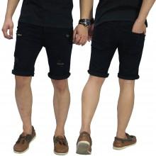 Celana Pendek Denim Ripped On Knee and Thigh Black