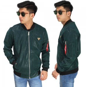 Jaket Bomber Leather Dark Tosca