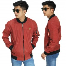 Jaket Bomber Leather Merah Bata
