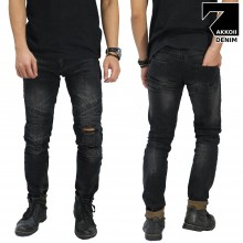 Jeans Biker Ripped Black Faded