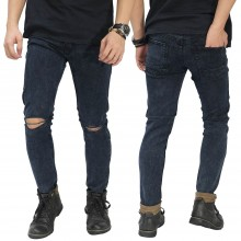 Jeans Ripped On Knee Snow Wash Black