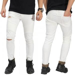 Jeans Skinny Biker Ripped White