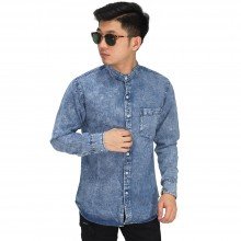 Kemeja Denim Grandad Collar Blue Washed