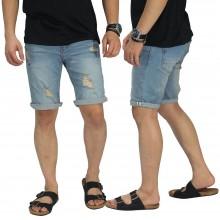 Celana Pendek Jeans 4 Ripped Vintage Blue