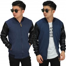 Jaket Bomber Sleeve Leather Navy