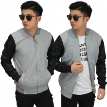 Jaket Bomber Sleeve Leather Soft Grey