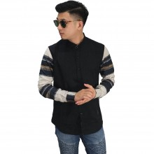 Kemeja Sleeve Layer Block Black