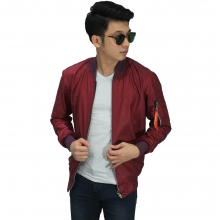 Jaket Bomber Leather Maroon