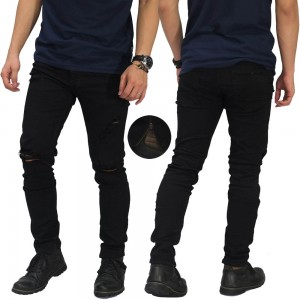 Jeans Thigh And Knee Rips Ankle Zip Black