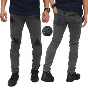Jeans Thigh And Knee Rips Ankle Zip Grey