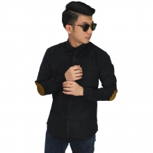 Kemeja Corduroy Elbow Patch Black
