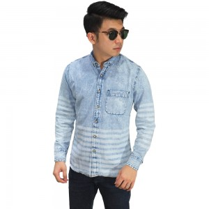Kemeja Denim Under Stripe Soft Blue