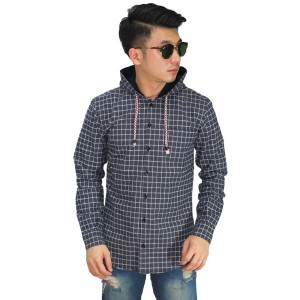 Kemeja Flanel Hooded Square Navy