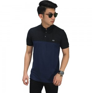 Polo Shirt Grandad Collar Black Bottom Navy