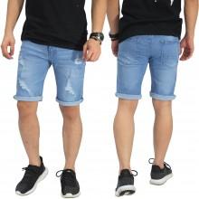 Celana Pendek Jeans 4 Ripped Soft Blue