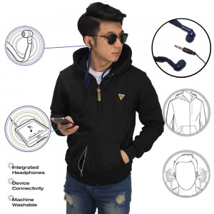 Jaket Hoodie With Earphone Black
